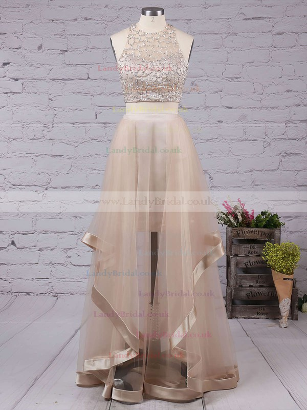 A-line Scoop Neck Tulle Floor-length Beading Prom Dresses #LDB020102393