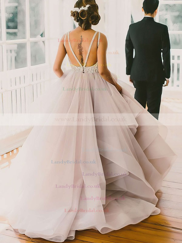 Ball Gown Scoop Neck Organza Sweep Train Beading Prom Dresses #LDB020102394