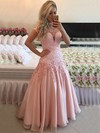 A-line High Neck Tulle Floor-length Appliques Lace Prom Dresses #LDB020102398