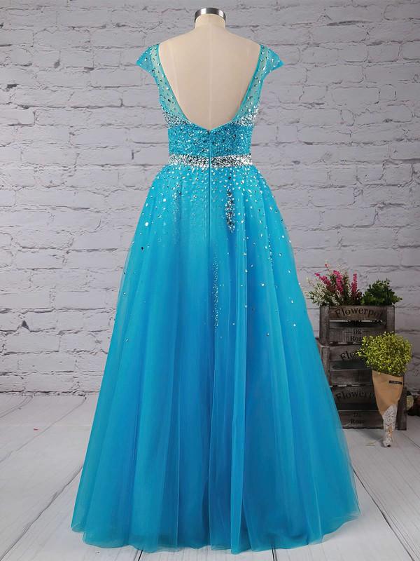Princess V-neck Tulle Floor-length Beading Prom Dresses #LDB020102401