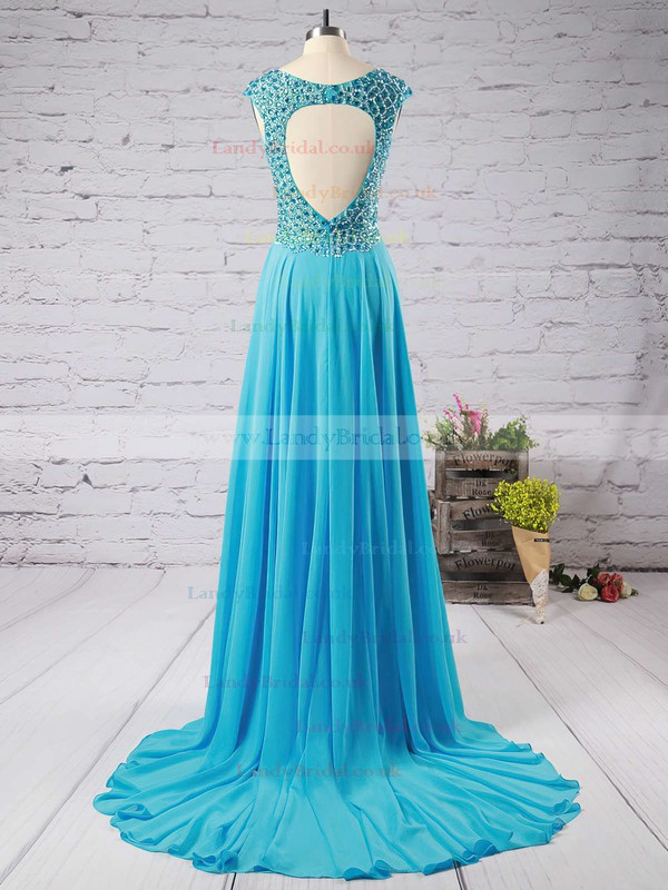 A-line V-neck Chiffon Sweep Train Beading Prom Dresses #LDB020102404