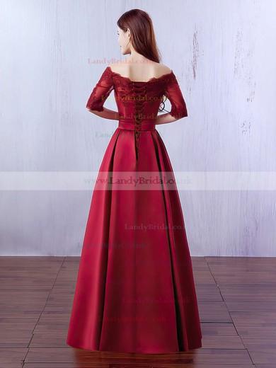A-line Off-the-shoulder Satin Floor-length Appliques Lace Prom Dresses #LDB020102406