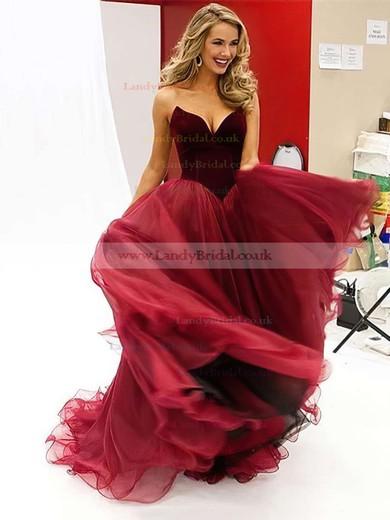 Ball Gown V-neck Organza Velvet Floor-length Prom Dresses #LDB020102419