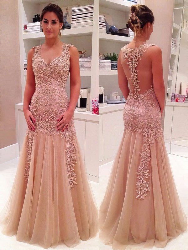 Trumpet/Mermaid V-neck Tulle Floor-length Appliques Lace Prom Dresses #LDB020102421