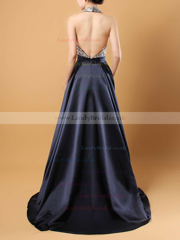 Princess Halter Satin Sweep Train Beading Prom Dresses #LDB020102435