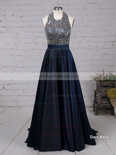 Princess Halter Satin Sweep Train Beading Prom Dresses #LDB020102435