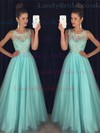 Princess Scoop Neck Tulle Floor-length Beading Prom Dresses #LDB020102437