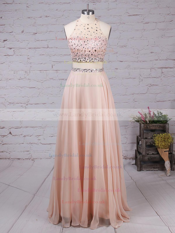 A-line Scoop Neck Chiffon Tulle Sweep Train Beading Prom Dresses #LDB020102442