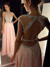 A-line Scoop Neck Chiffon Floor-length Beading Prom Dresses #LDB020102446