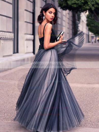 Princess V-neck Satin Tulle Floor-length Pleats Prom Dresses #LDB020102454