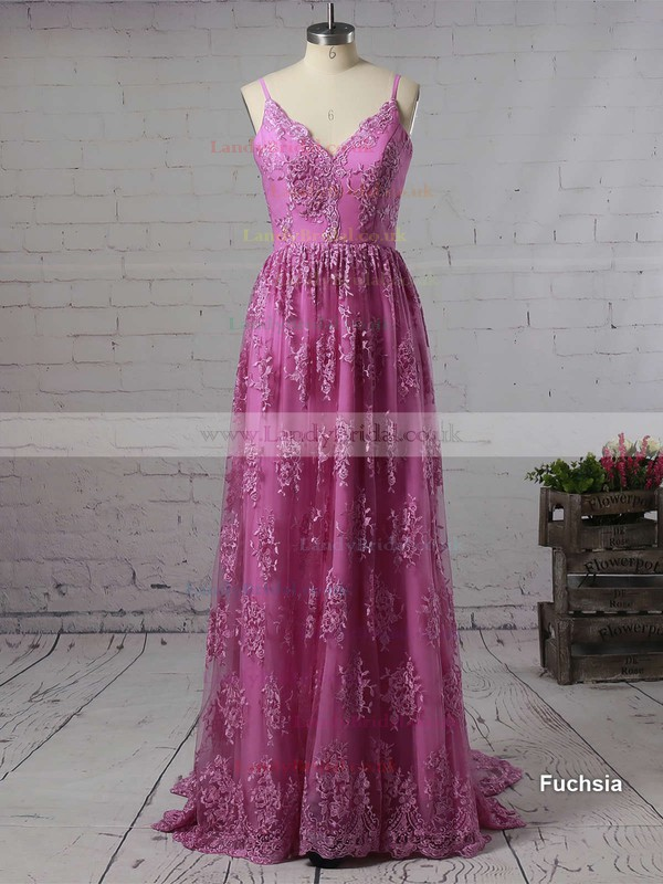 A-line V-neck Lace Court Train Lace Prom Dresses #LDB020102459