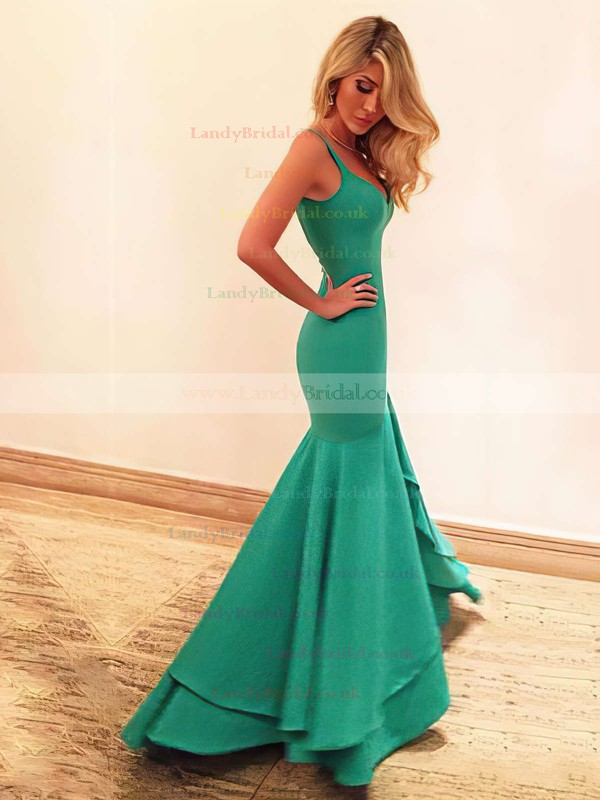 Trumpet/Mermaid V-neck Silk-like Satin Asymmetrical Prom Dresses #LDB020102466