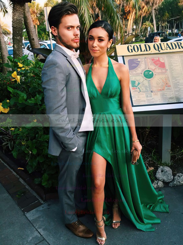 A-line V-neck Silk-like Satin Court Train Split Front Prom Dresses #LDB020102467