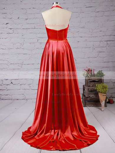 A-line V-neck Silk-like Satin Court Train Split Front Prom Dresses #LDB020102467