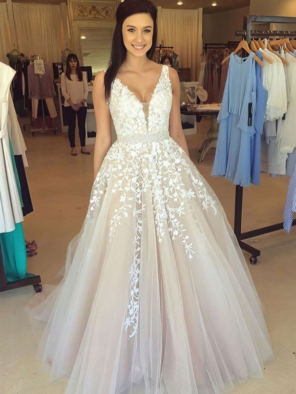 Ball Gown V-neck Tulle Floor-length Beading Prom Dresses #LDB020102479