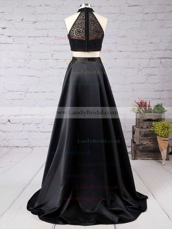 A-line High Neck Satin Sweep Train Beading Prom Dresses #LDB020102482