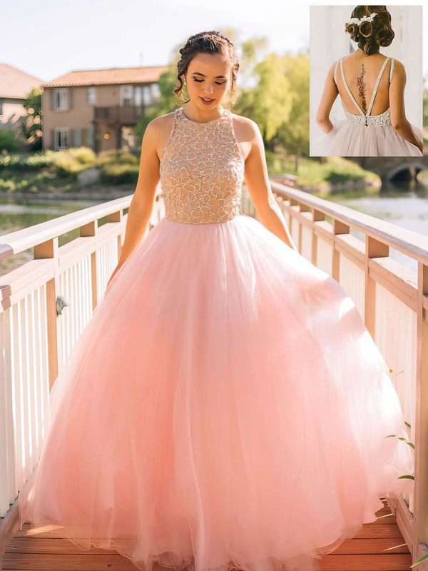 Ball Gown Scoop Neck Tulle Floor-length Beading Prom Dresses #LDB020102483