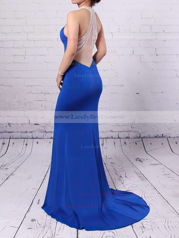 Trumpet/Mermaid High Neck Jersey Sweep Train Beading Prom Dresses #LDB020102490