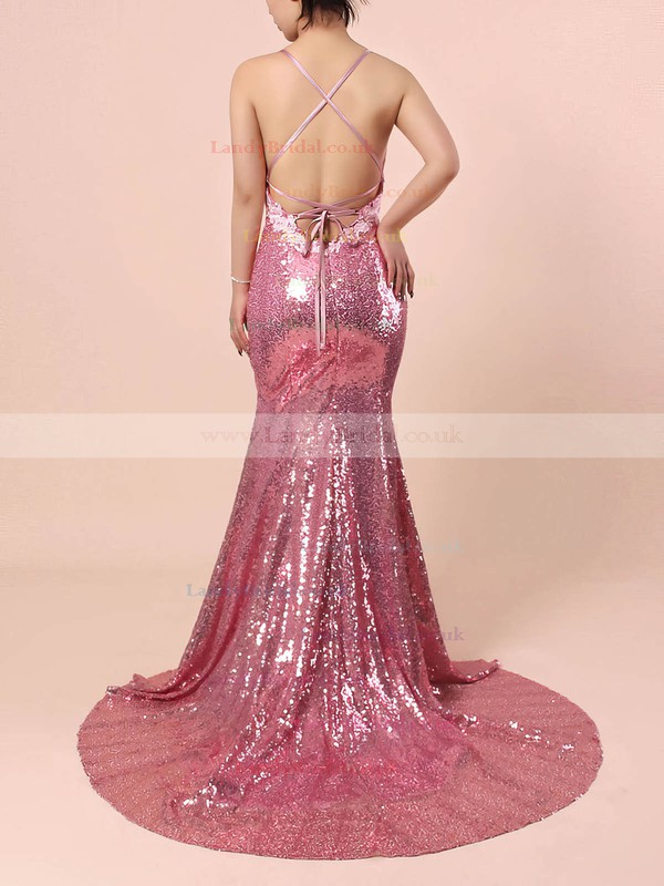 Trumpet/Mermaid V-neck Sequined Sweep Train Appliques Lace Prom Dresses #LDB020102499