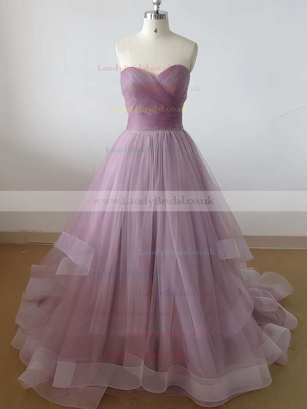 Princess Sweetheart Tulle Sweep Train Ruffles Prom Dresses #LDB020102507