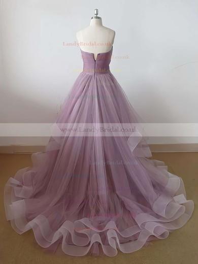 Princess Sweetheart Tulle Sweep Train Ruffles Prom Dresses #LDB020102507