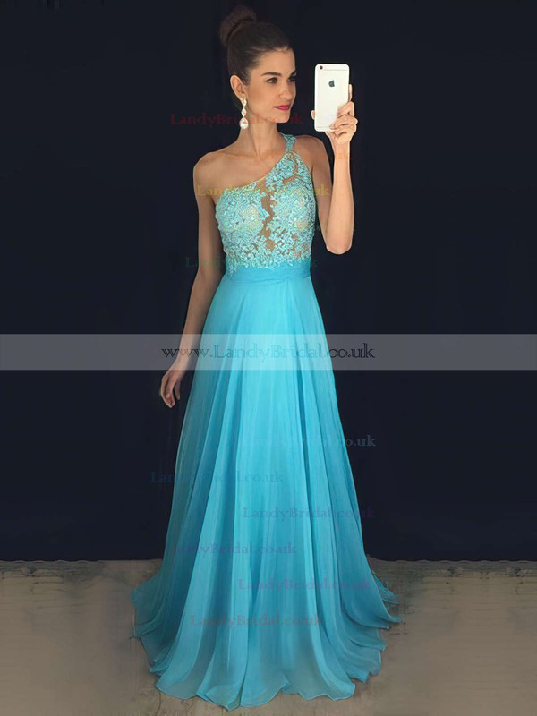 A-line One Shoulder Chiffon Sweep Train Sequins Prom Dresses #LDB020102512
