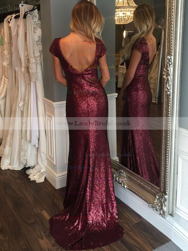 Sheath/Column Scoop Neck Sequined Sweep Train Prom Dresses #LDB020102573