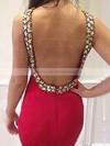 Trumpet/Mermaid Scoop Neck Tulle Silk-like Satin Sweep Train Beading Prom Dresses #LDB020102584