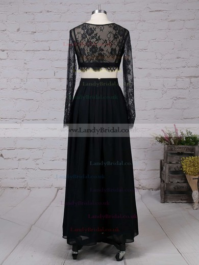 A-line Scoop Neck Lace Chiffon Ankle-length Split Front Prom Dresses #LDB020102597