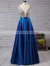 Princess V-neck Satin Floor-length Beading Prom Dresses #LDB020102600
