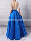 Princess V-neck Satin Floor-length Beading Prom Dresses #LDB020102600