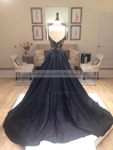 A-line V-neck Satin Sweep Train Beading Prom Dresses #LDB020102608