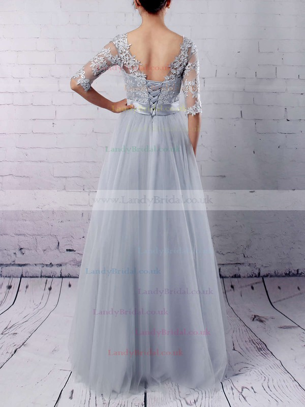 A-line Scoop Neck Tulle Floor-length Appliques Lace Prom Dresses #LDB020102645