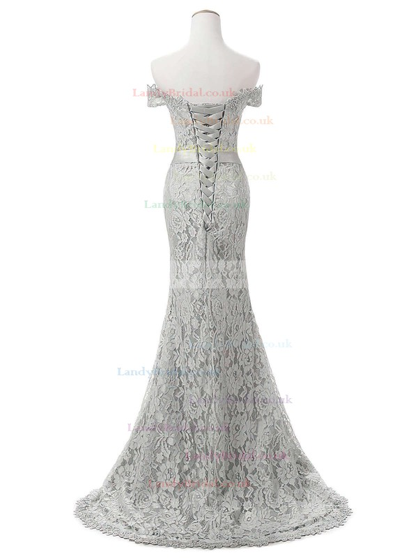 Trumpet/Mermaid Off-the-shoulder Lace Sweep Train Appliques Lace Prom Dresses #LDB020102649