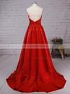 A-line V-neck Satin Sweep Train Ruffles Prom Dresses #LDB020102672