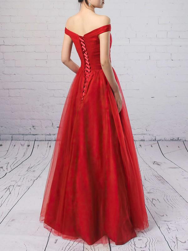 Princess Off-the-shoulder Tulle Floor-length Ruffles Prom Dresses #LDB020102678