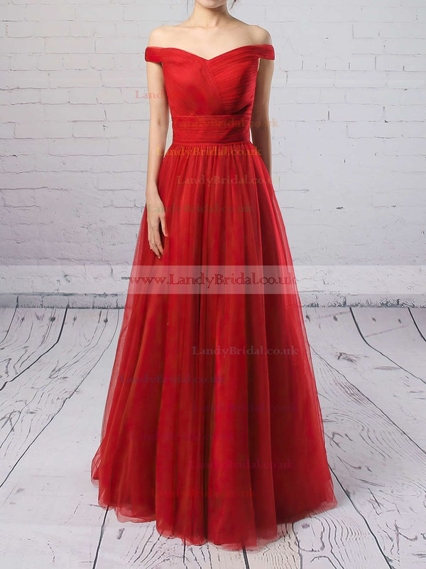 Princess Off-the-shoulder Tulle Floor-length Ruffles Prom Dresses #LDB020102678
