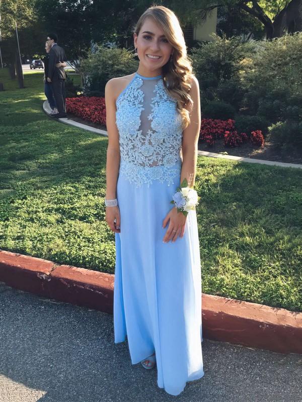 A-line Scoop Neck Chiffon Ankle-length Appliques Lace Prom Dresses #LDB020102693