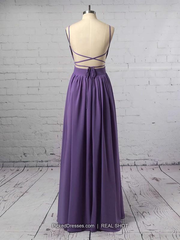 A-line V-neck Chiffon Floor-length Ruffles Prom Dresses #LDB020102734