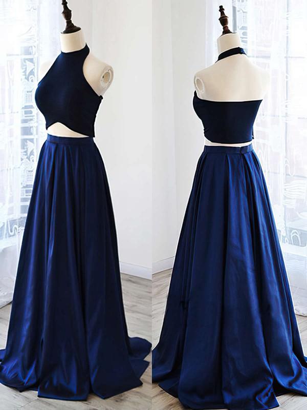 A-line Halter Satin Floor-length Prom Dresses #LDB020102737