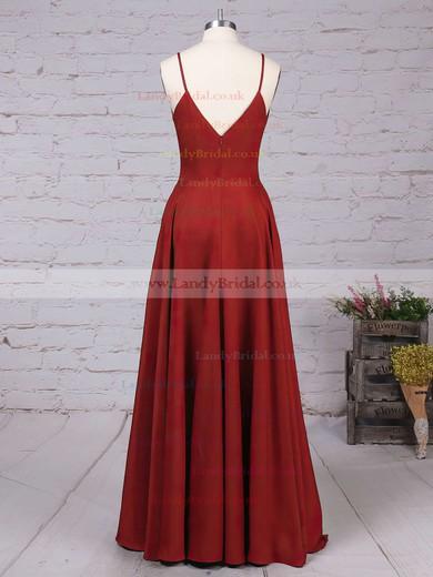 A-line V-neck Silk-like Satin Sweep Train Prom Dresses #LDB020102743