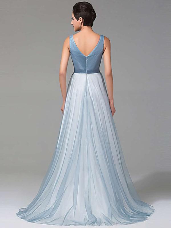 A-line V-neck Tulle Floor-length Beading Prom Dresses #LDB020102764