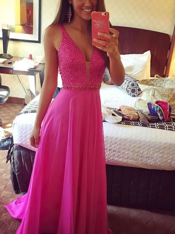 A-line V-neck Chiffon Sweep Train Beading Prom Dresses #LDB020102765