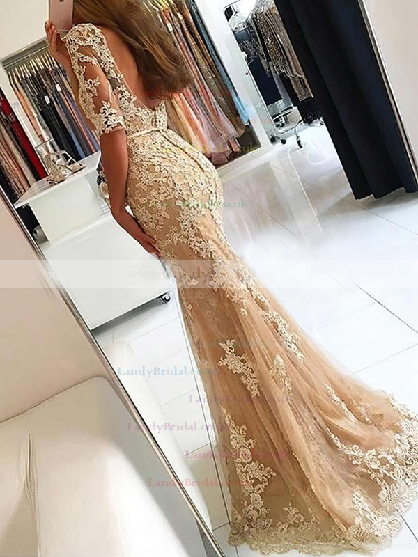 Trumpet/Mermaid Scoop Neck Tulle Sweep Train Sashes / Ribbons Prom Dresses #LDB020102800