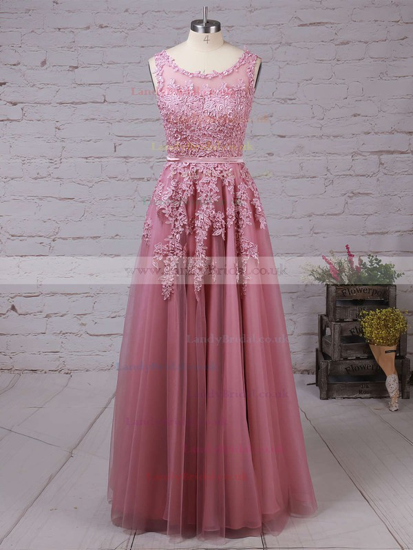Princess Scoop Neck Tulle Floor-length Appliques Lace Prom Dresses #LDB020102804