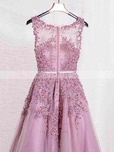 Princess Scoop Neck Tulle Floor-length Appliques Lace Prom Dresses #LDB020102804