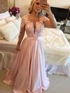 A-line Scoop Neck Satin Sweep Train Appliques Lace Prom Dresses #LDB020102805