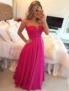 A-line Scoop Neck Chiffon Floor-length Lace Prom Dresses #LDB020102817