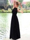 A-line Halter Chiffon Floor-length Lace Prom Dresses #LDB020102836