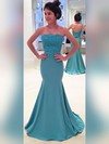 Trumpet/Mermaid Strapless Satin Sweep Train Appliques Lace Prom Dresses #LDB020102860